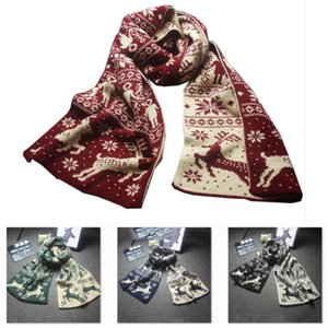 Christmas Scarf Warm Winter Scarf For Woman Man Fashion Snowflake Elk Print Scarf Thicken Wool Knit Scarves Christmas Gift HH9-A2568