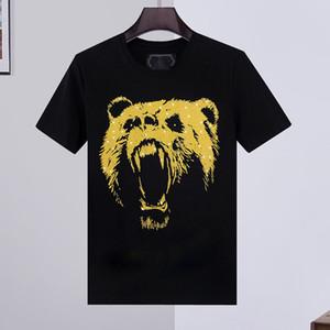 % 100 Pamuk kaplan T Shirt Erkekler Yaz Temel Katı kristal Kafatası tişört Casual Punk Yüksek Kalite mektup Tee giyim kısa kollu M-3XL başında