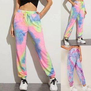 2020 New tie dye Jogger hohe Taille lange Pluderhose Frauen Jogginghose lose Hosen Freizeit Bekleidung Kleider Dropshipping