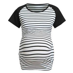 Breastfeeding Pregnancy Shirts Summer Short Sleeve Stripe Print Nursing Clothes Tops T-shirt Maternity Tops Sports Running Gym