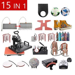 Frete grátis 15 em 1 Combo Sublimation Heat Press Machine T Shirt máquina de transferência de calor para personalizar camiseta / keychain / caneta
