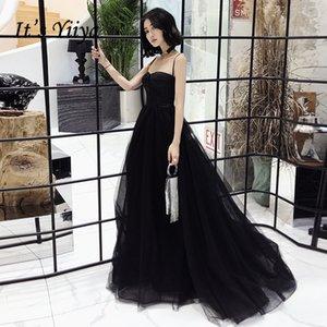 Es ist YiiYa Abendkleid SpagheStrap trägerlos Zug Schwarz-formalen Kleid-elegante Spitze-Falte lange Partei-Kleider E085