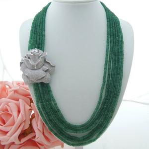 6strands Charming 2x4mm collana di giada verde accessori micro intarsio zircone fibbia fiore della collana lunga 61-68 cm