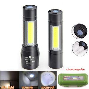 Potente lado Q5 LED linterna antorcha COB USB luz de luz de trabajo del flash de la lámpara recargable de la batería Lanterna noche de pesca camping