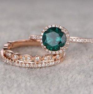 jóias de esmeralda solitário anéis de ouro 14K chapeado anéis conjuntos zircão configuração para as mulheres moda quente gratuitos de transporte