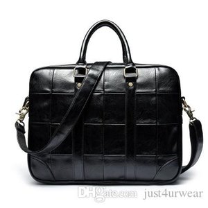 Mens Fashion Black Vintage Briefcase Waterproof Business Plaid Zipper Soft Leather Messenger Satchel Fashion Bag Male Casual Accessories