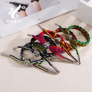 HAOYI мода спорт нержавеющая сталь плетеный Канат браслет Шарм человек ювелирные изделия аксессуары несколько цветов