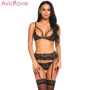 Avidlove Women Sexy Lingerie Intimates Embroidery Ladies Sexy Underwear Set Hollow Out Lace Hot Erotic Plus Temptatation Clothes CY200512