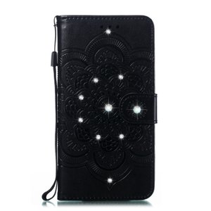 New Sun Mandala embossed point drill phone case TPU + PU anti-fall can support models for Red mi 7A with credit card slot pocket