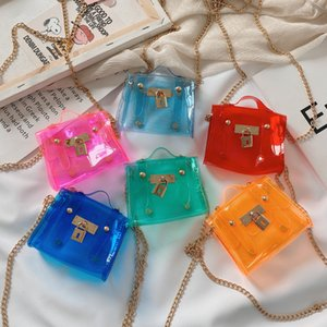 детская мини Jellÿ мешок 2020 лета малышей прозрачность плечо сумка Мода девушка цвет конфета Металлические цепи сумка S073