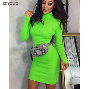 ZKYZWX manches longues col roulé Printemps Robe moulante Womens élégant Vêtements Bonneterie Slim Neon Green Party Casual Robes Robes