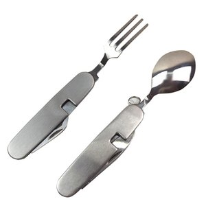 Multifunction Outdoor Camping Picnic Tableware Folding Fork With Spoon And Knife Bottle Opener Stainless Steel Cutlery