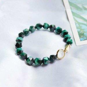 Eye White Opal de senhoras do bracelete do Adjustable Pedra Natural Verde Tigre da cor do ouro real 925 Sterling Silver Mulher Pulseiras YBR074