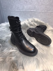 Sıcak Satış-2019 Ann Demeulemeester tasarımcı düz topuklu deri iyi kaliteli ayakkabı kadınlar Lace Up ayak bileği Boot bileği Boots sneaker