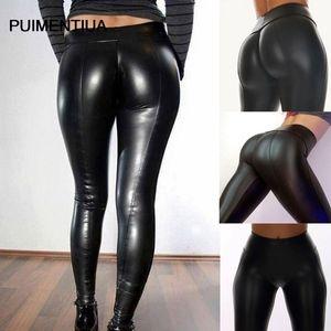 Pantalon noir en cuir Puimentiua femme taille haute long caleçon long pantalon Chaparejos Pantalon en cuir 2020 nouveau pantalon de mode