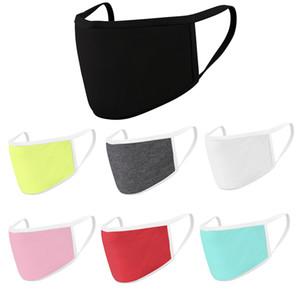 Modal Algodão Máscara 7 cores crianças Adultos cor sólida 2 camadas Anti cara Máscara de poeira respirável lavável exterior cobrir a boca OOA7894