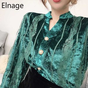 Elnage Spitze-Gold Velvet Blusen Frauen 2020 neue Frühlings-Herbst-Kleidung Solide dünne V-Ausschnitt T-Shirts Vintage-Blusas 5A386
