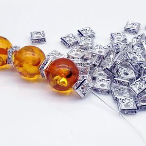 Ücretsiz kargo Toptan 200 adet Gümüş Kare Rhinestone Boncuk Spacer, Moda Takı Bulma Moda Takı Boncuk Paspayı