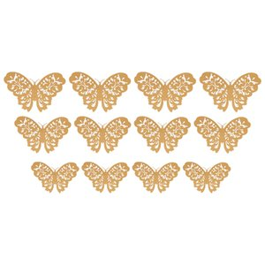 12 Pcs Set 3D Wall Stickers Butterfly Hollow Paper 3 Sizes for Fridge on Party the Festival