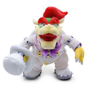 36 cm Büyük Ayakta Bowser Yumuşak Peluş Oyuncaklar Anime Süper Mario Giymek Bir Beyaz Üniforma Koopa Peluche Dolması Bebekler Için Çocuk Bebek Oyuncak Y19070103