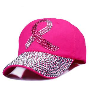Cinta de color Mujeres Tachonado Cristales Rhinestone Sombreros Lentejuelas Gorra de béisbol Pink Swag Moda Bling Sombrero Casual Mujer Sombreros al aire libre