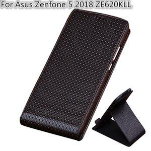 QX03 De Luxe En Cuir Véritable Vertical Flip Phone Cas Pour Asus Zenfone 5 2018 ZE620KL Vertical Flip Case
