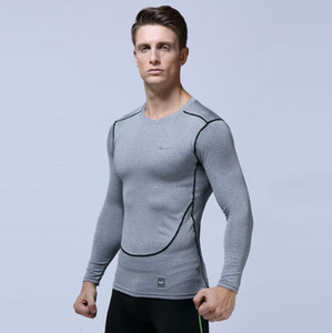 Men's T-shirt Europe US running fitness clothing quick-drying T-shirt sportswear long-sleeved compression training stretch Slim tights vcbg