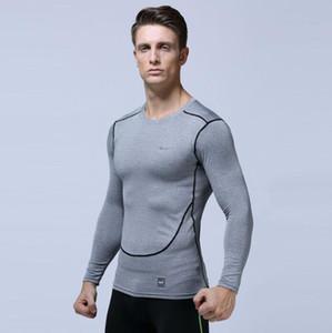 Мужская футболка Европа США работает фитнес одежда быстросохнущие футболка спортивная одежда с длинными рукавами сжатия обучение стрейч тонкий колготки vcbg