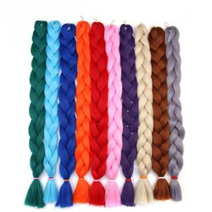 165g 40inch xpression tressage de cheveux extensions de cheveux kanekalon crochet tresse pure couleur jumbo tresses blonde rouge bleu rose 20 couleurs