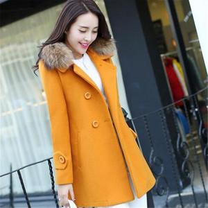 여성 의류 새로운 패션 겨울 모직 코트 긴 섹션 큰 모피 칼라 코트 대형 여성 단단한 더블 브레스트 outerwea