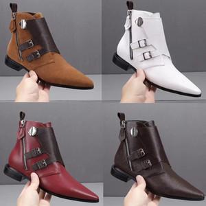 Kutu Boyutu 42 ile büyüleyici Sivri Ayak parmakları Kış Boots olan kadınlar karmakarışık Düz Ayak bileği Boots hakiki deri Martin Çizme
