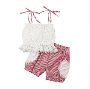 Summer Infant Baby Girls Set Kids Lace Sun-top Tops + Stripe Shorts Girl 2pcs Outfits Children Set 15033