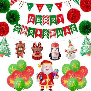 Décorations de Noël Père Noël Ballon Set La feuille d'aluminium gonflable de Noël Ballons Set Joyeux Noël Drapeau Fleurs en papier BH0128 TQQ
