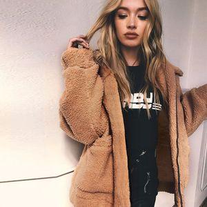 Tasarımcı Ceket Kadınlar Kadınlar Coat Moda Yeni Sonbahar Bulanık Oyuncak Ayı Ceket Kadınlar Moda Açık Kapşonlu Kadın Uzun Kollu Cep Ceket