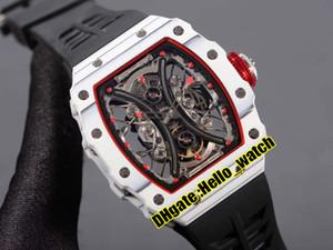 Nueva RM53-01 Pablo Mac Donough Esqueleto Dial Miyota automático del reloj para hombre Rojo Interior TPT blancas en fibra de carbono negro del caso de goma waches deporte