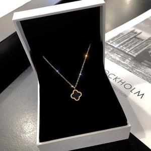 модные ювелирные изделия оптом роскошные ювелирные изделия дизайнер ожерелье для женщин титан сталь клевер кулон ожерелье женщины подарок бесплатная доставка