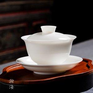 White porcelain sancai bowl household pot size cover kung fu tea set sancai cup cover cup tea to tea bowl