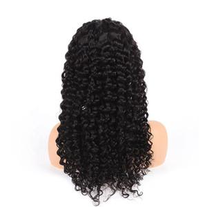 24inch 13x6 глубокой части фронта шнурка Curly человеческих волос Парики Полный Концы Wet И Волнистые волны перуанский Девы волос парики для женщин черный новый