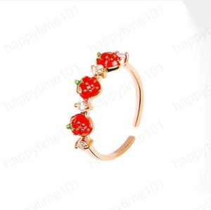 2019 New Arrival European and American Style Cute Red Strawberry New Simplicity Crystal Rings Jewelry for Women