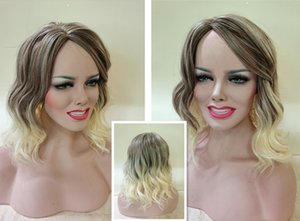 Hot Selling Glueless Blonde Long Wavy Wigs with Baby Hair Synthetic Ombre Blonde Lace Front Wigs For Women Heat Resistant