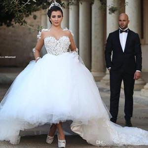 2019 Prenses Sheer Boyun Uzun Kollu Balo Gelinlik Vintage Aplikler Tül Gelin Kıyafeti Artı Boyutu Custom Made Vestido de Noiva