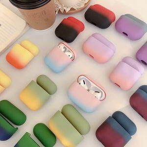 Градиент наушники чехол для Apple, Airpods 1 2 3 Красочный для Apple AirPods Pro New PC Hard Cover Cute Box Case