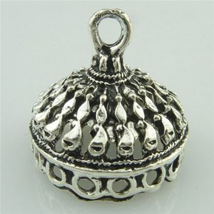 19037 8pcs lot Vintage Silver Crown Hat Curve Hollow Totem Carve Filigree Pendant Tassel Cap Bead Cap