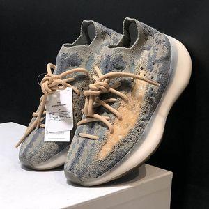 Kanye West 380 V3 Alien Mist Schwarz Drei Generationen Laufschuhe Garn Fliegen Woven Knite Socken Schuhe Frauen Männer mit Kasten