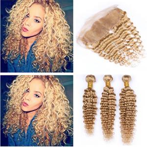 Honigblondes lockiges brasilianisches Haarbündel mit Frontal-Verschlussfarbe # 27 Hellbraunes Blondes Deep Wave-Lockiges Menschenhaar