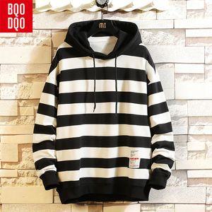 BQODQO À Capuche O-Cou Automne Rayé Sweatshirts Hommes Harajuku Hip Hop Casual Sweat Pullover Preppy Homme Streetwear Hoodies T190914