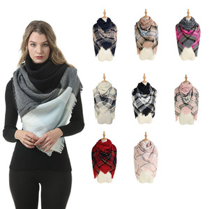 Women Winter Plaid Scarf Fashion Square Warm Knitted Blanket Shawl Outdoor Causal Travel Tassel Ski Scarf TTA1671