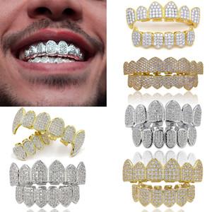 L'oro reale 18K Punk Hiphop cubico zircone denti del vampiro Fang Grillz dentale bocca Griglie Bretelle Tooth Cap Rapper gioielli per il partito di Cosplay