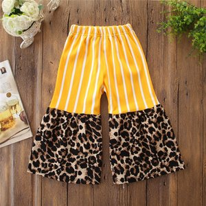 2019 New Arrival Infant Kids Baby Girls Pants Summer Fashion Leopard Patchwork Wide Leg Pants Casual Flare Pants Trousers