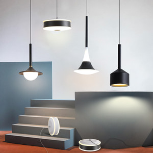 Suspensão Nordic cabeceira Pendant Light Metal Acrílico Branco Preto minimalista longa Cable LED Luminária Droplight Hanglamp Fixação